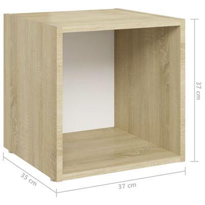 vidaXL Ensemble de meubles TV 8 pcs Blanc et chêne sonoma Aggloméré