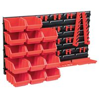 vidaXL Kit de bacs de stockage et panneaux muraux 39 pcs Rouge et noir