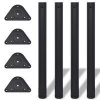vidaXL 4 pieds de table réglables en hauteur 710 mm Noir