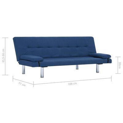 vidaXL Canapé-lit avec deux oreillers Bleu Polyester