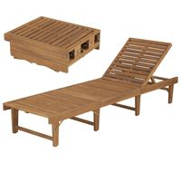 vidaXL Chaise longue pliable Bois d'acacia solide