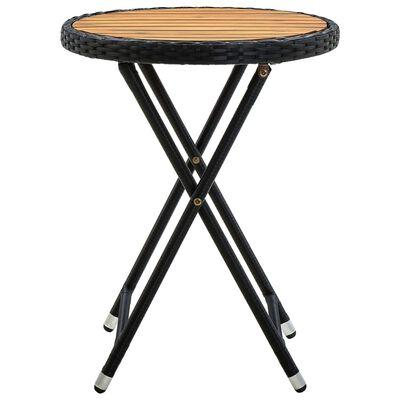 vidaXL Table à thé Noir 60 cm Résine tressée et bois d'acacia solide