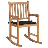 vidaXL Chaise à bascule avec coussin noir Bois de teck solide