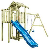 vidaXL Aire de jeu avec échelle, toboggan et balançoires Bois