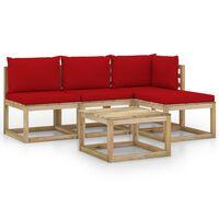 vidaXL Salon de jardin 5 pcs avec coussins rouge