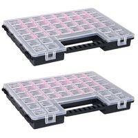 vidaXL Boîtes d'assortiment 2 pcs 385x283x50 mm Plastique