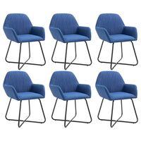 vidaXL Chaises de salle à manger 6 pcs Bleu Tissu