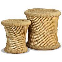 vidaXL Tabourets 2 pcs Bambou et jute