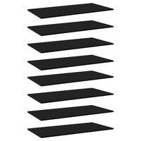 vidaXL Panneaux de bibliothèque 8 pcs Noir 80x20x1,5 cm Aggloméré
