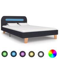 vidaXL Cadre de lit avec LED Gris foncé Tissu 120 x 200 cm