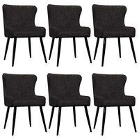 vidaXL Chaises de salle à manger 6 pcs Noir Velours
