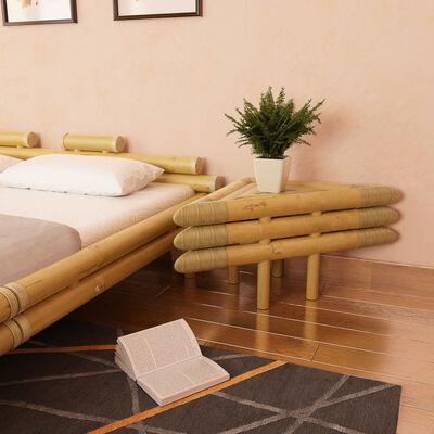 vidaXL Table de chevet 2 pcs 60 x 60 x 40 cm Bambou naturel