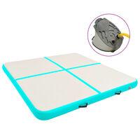 vidaXL Tapis gonflable de gymnastique avec pompe 200x200x15cm PVC Vert