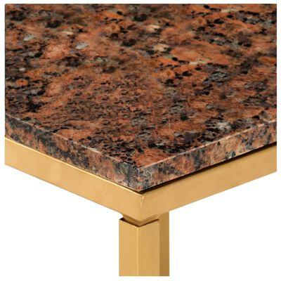 vidaXL Table basse Marron 40x40x35 cm Pierre véritable texture marbre