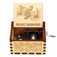 Boîte à musique en bois 18 tons à manivelle gravée