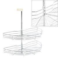 vidaXL Panier à 2 niveaux métallique de cuisine 180 degrés 75x38x80 cm