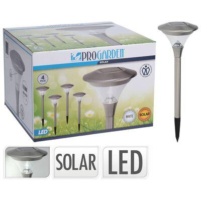 ProGarden Lampes solaires à LED d'extérieur 4 pcs Inox 14 cm