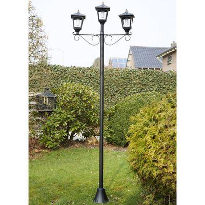 Luxform Lampadaire LED solaire de jardin avec 3 lampes Brooklyn Noir