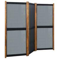 vidaXL Cloison de séparation 3 panneaux Noir 210x170 cm