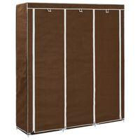 vidaXL Armoire avec compartiments et barres Marron 150x45x175 cm Tissu