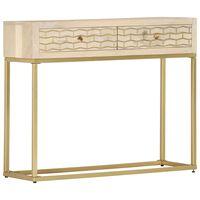 vidaXL Table console Doré 90 x 30 x 75 cm Bois de manguier massif