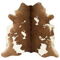 vidaXL Tapis en peau de vache véritable Marron et blanc 150 x 170 cm