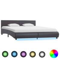 vidaXL Cadre de lit avec LED Gris Similicuir 180 x 200 cm