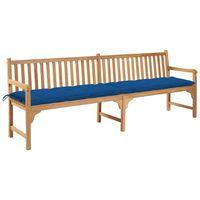 vidaXL Banc de jardin avec coussin bleu 240 cm Bois de teck massif