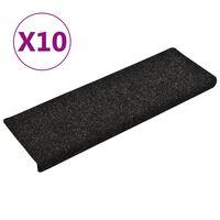 vidaXL Tapis de marches d'escalier 10 pcs Noir 65x25 cm Aiguilleté