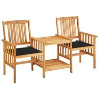 vidaXL Chaises de jardin avec table à thé et coussins Acacia solide