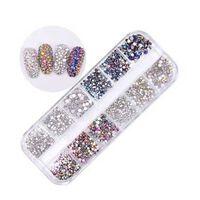 Ab couleur nail art strass fond plat multi taille fleurs séchées