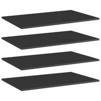 vidaXL Panneaux bibliothèque 4 pcs Noir brillant 80x50x1,5cm Aggloméré