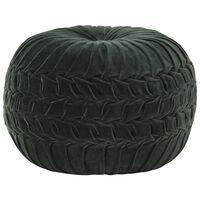 vidaXL Pouf Velours de coton Design de sarrau 40 x 30 cm Vert