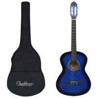 """vidaXL Jeu de guitare classique de débutant 12 pcs Bleu 4/4 39"""""""