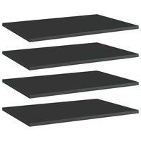 vidaXL Panneaux bibliothèque 4 pcs Noir brillant 60x40x1,5cm Aggloméré