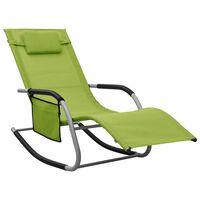 vidaXL Chaise longue Textilène Vert et gris