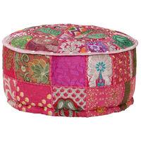 vidaXL Pouf rond en coton en patchwork fait à la main 40 x 20 cm Rose