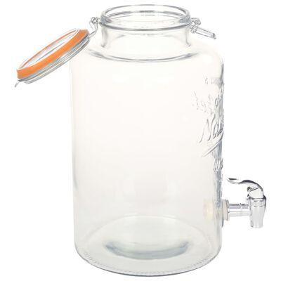 vidaXL Distributeur d'eau XXL avec robinet Transparent 8 L Verre