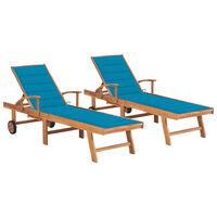 vidaXL Chaises longues 2 pcs avec coussin bleu Bois de teck solide