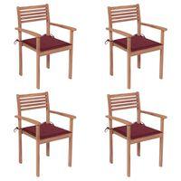 vidaXL Chaises de jardin 4 pcs avec coussins bordeaux Teck solide