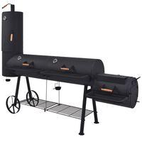 vidaXL Barbecue au charbon de bois avec étagère inférieure Noir XXXL