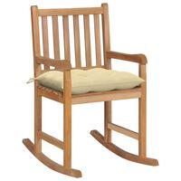 vidaXL Chaise à bascule avec coussin blanc crème Bois de teck solide