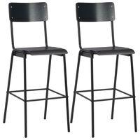 vidaXL 2 pcs Chaises de bar Noir Contreplaqué solide et acier