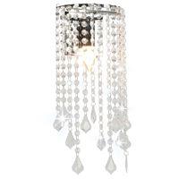 vidaXL Plafonnier et perles cristal Argenté Rectangulaire Ampoules E14