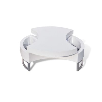 vidaXL Table basse à forme réglable Haute brillance Blanc