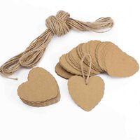100x Chanes En Forme De Coeur En Papier Pendentifs Cadeaux tiquett