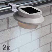 HI Ensemble de lampes solaires LED de gouttière 2 pcs Blanc