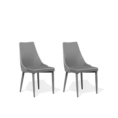 Lot de 2 chaises en tissu gris CAMINO
