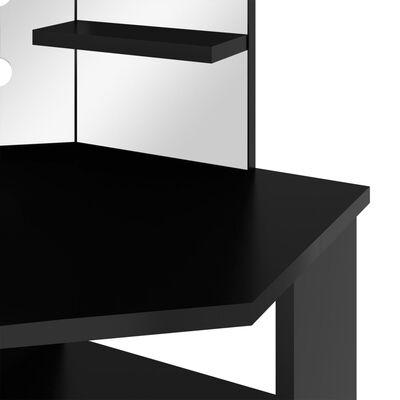 vidaXL Coiffeuse d'angle avec LED Noir 111x54x141,5 cm