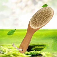 Brosse douce pour le corps en poils naturels avec un long manche,